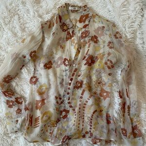 Prada floral silk button up blouse, size 38